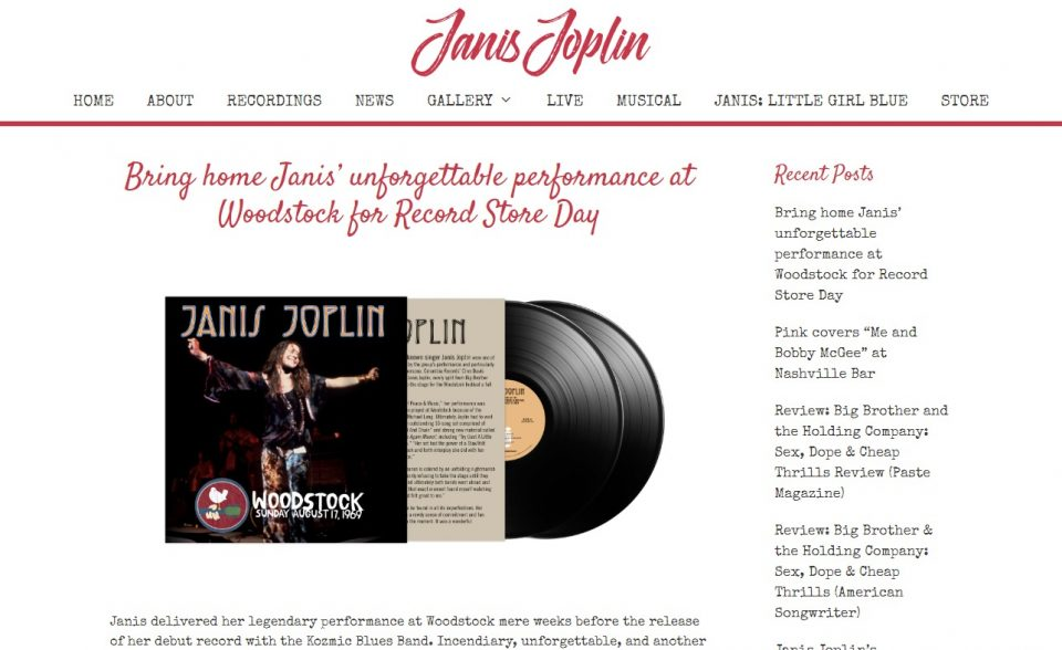 Janis Joplin – Official WebsiteのWEBデザイン