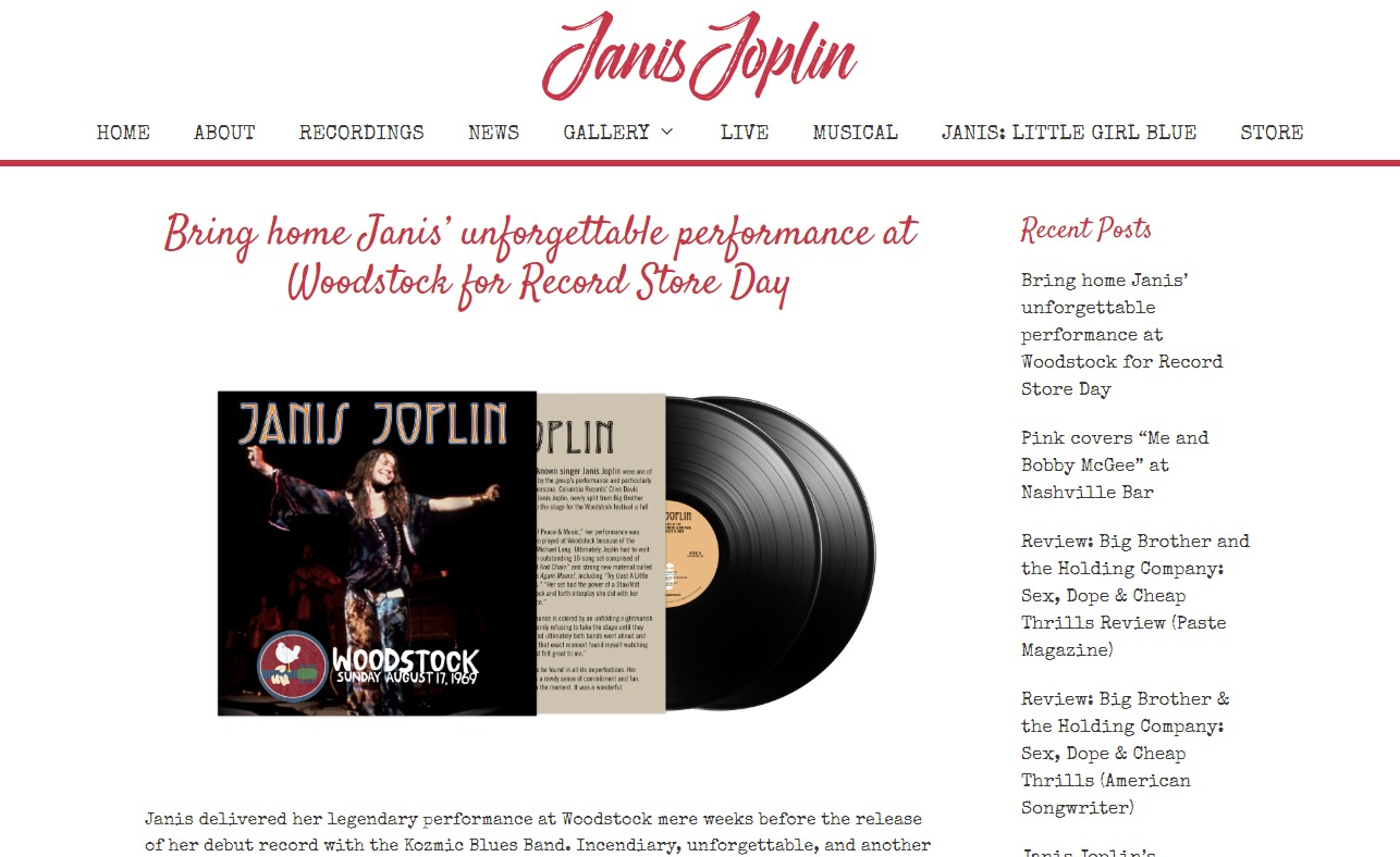 Janis Joplin – Official WebsiteのWEBデザイン