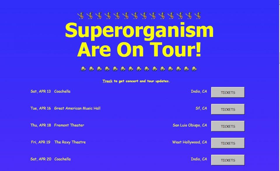 SuperorganismのWEBデザイン