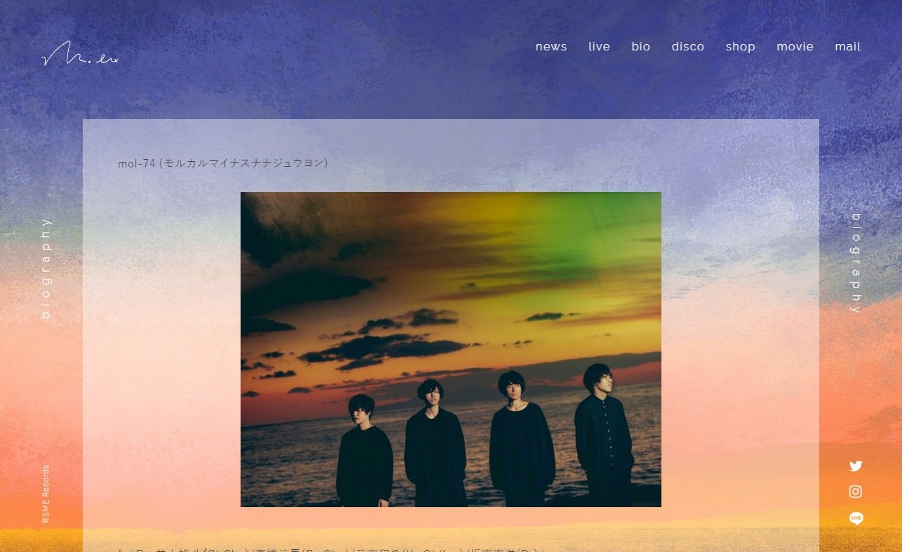 mol-74 official websiteのWEBデザイン