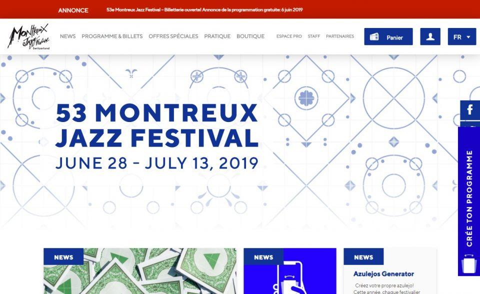 Montreux Jazz FestivalのWEBデザイン