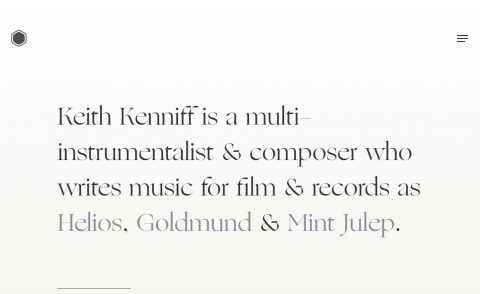 Unseen – Composer Keith KenniffのWEBデザイン