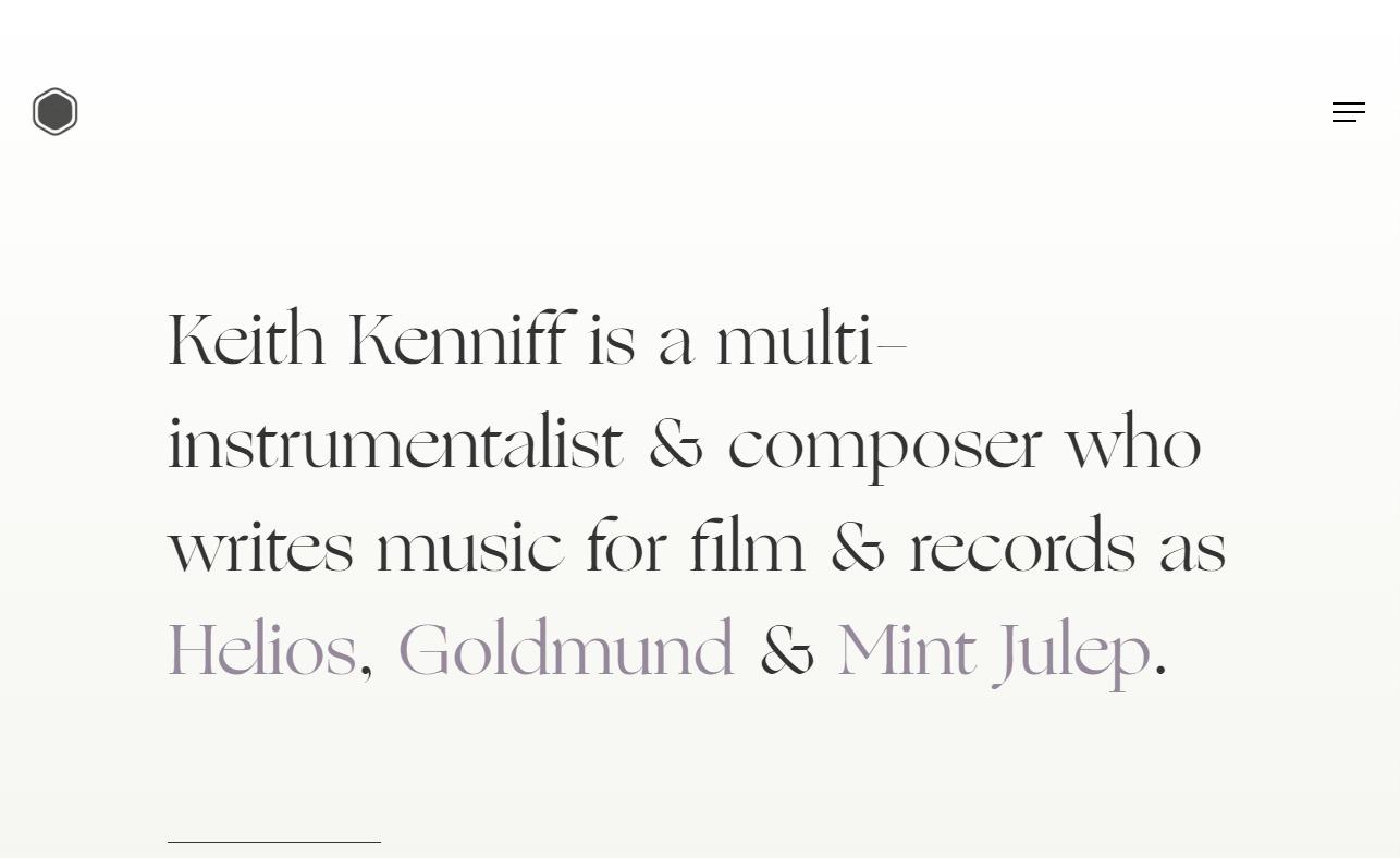 Unseen – Composer Keith KenniffのWEBデザイン