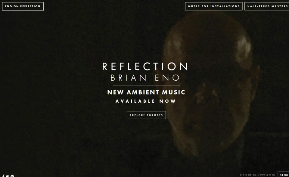 Brian Eno – ReflectionのWEBデザイン