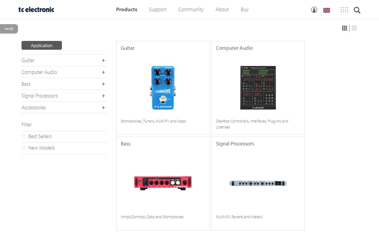 TC Electronic Home Page | MUSIC Group – TC ElectronicのWEBデザイン
