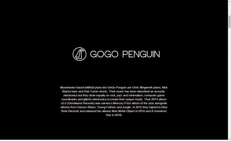 Gogo PenguinのWEBデザイン