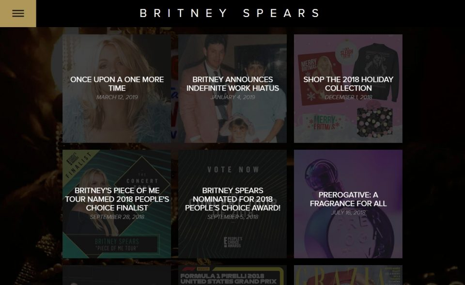 Britney Spears – Official SiteのWEBデザイン