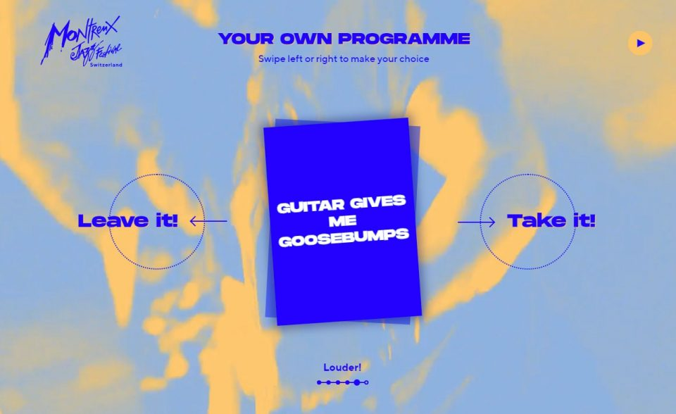 Montreux Jazz Festival 2019 – Create Your ProgrammeのWEBデザイン
