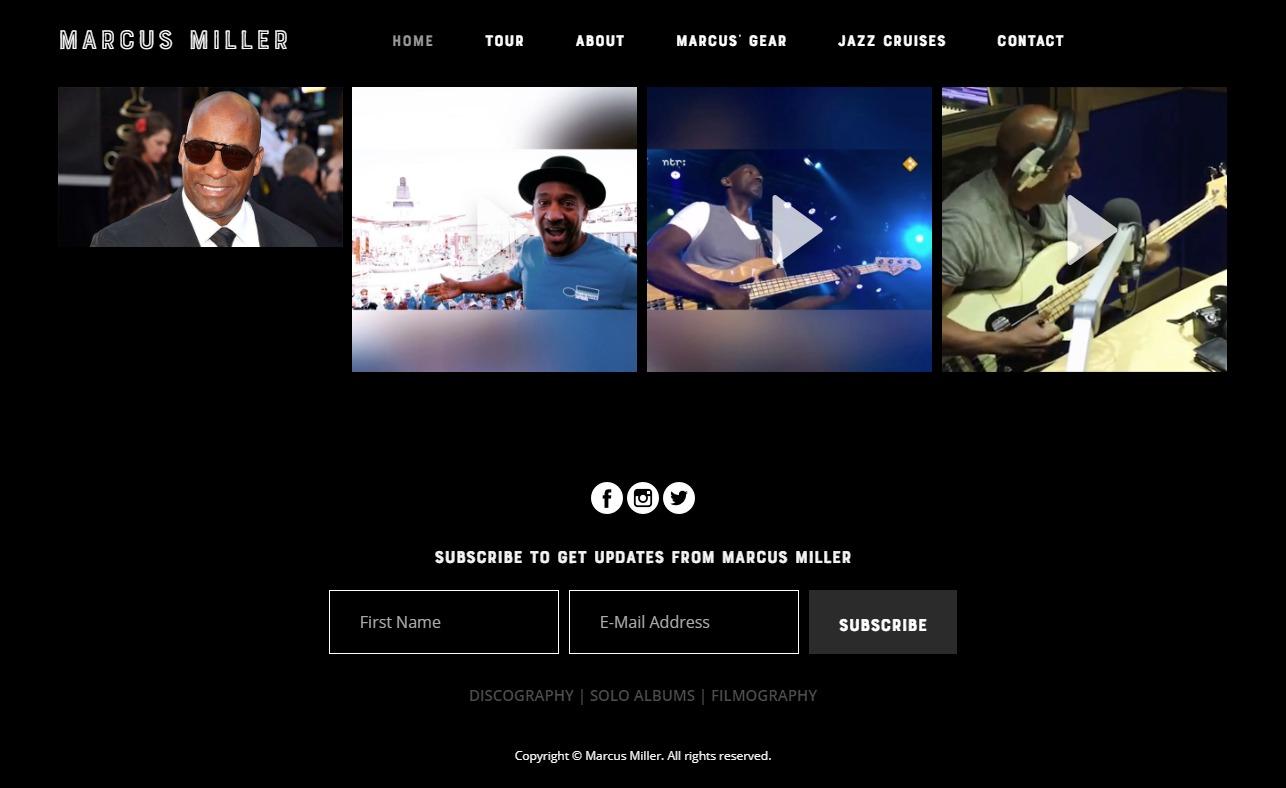 home – Marcus MillerのWEBデザイン