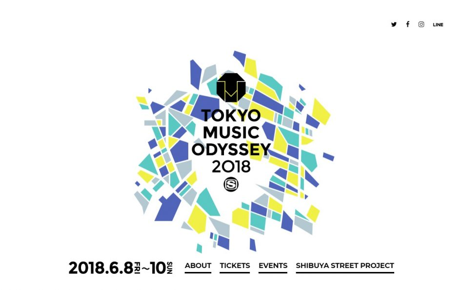 TOKYO MUSIC ODYSSEY 2018のWEBデザイン