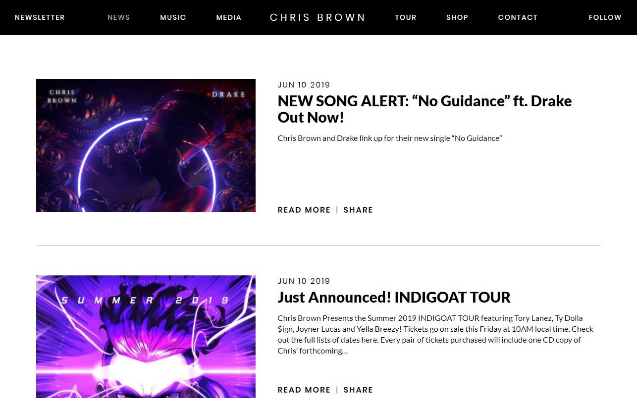 Chris Brown – Indigo | Official WebsiteのWEBデザイン