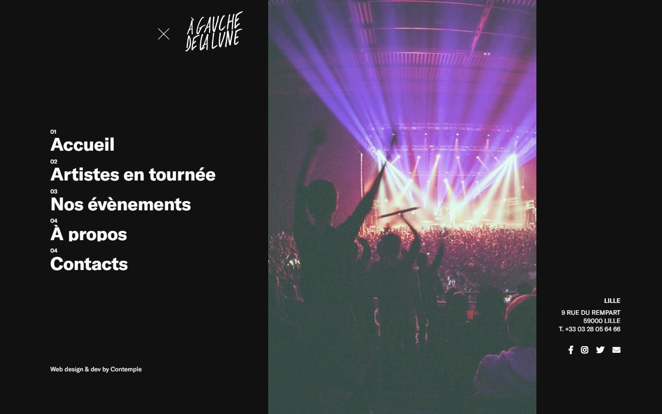 A Gauche de la Lune | Tourneur, agent, producteur, promoteur localのWEBデザイン