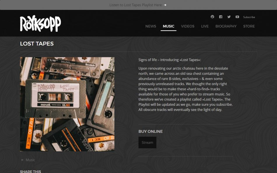 Röyksopp   Official websiteのWEBデザイン