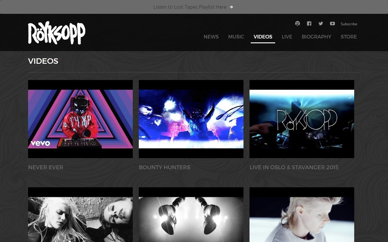 Röyksopp | Official websiteのWEBデザイン