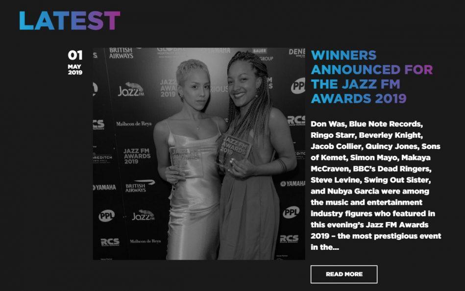 Jazz FM AwardsのWEBデザイン