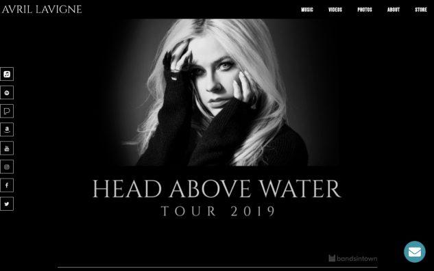Avril Lavigne – The Official Website of Avril LavigneのWEBデザイン