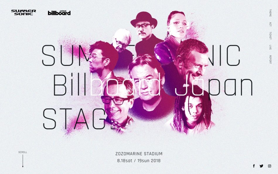 Billboard JAPAN x SUMMER SONIC 2018 l Billboard JAPAN StageのWEBデザイン