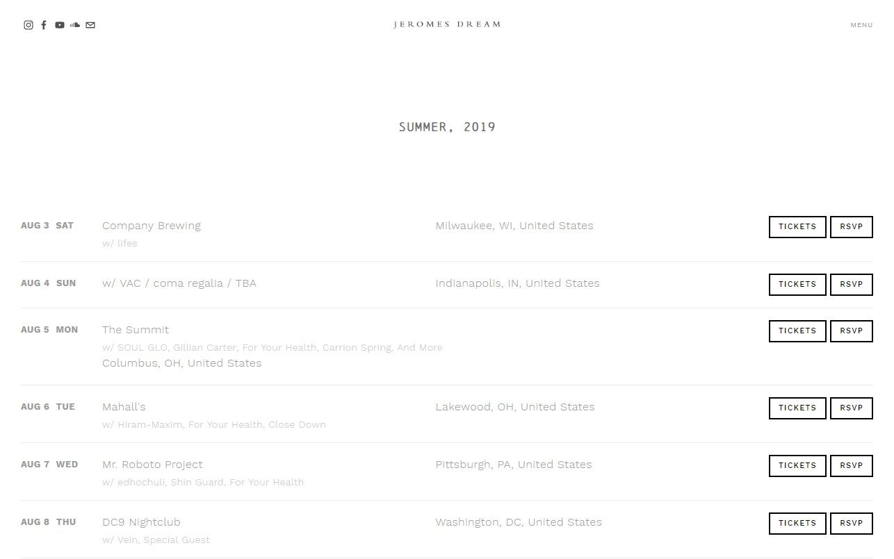 Jeromes DreamのWEBデザイン