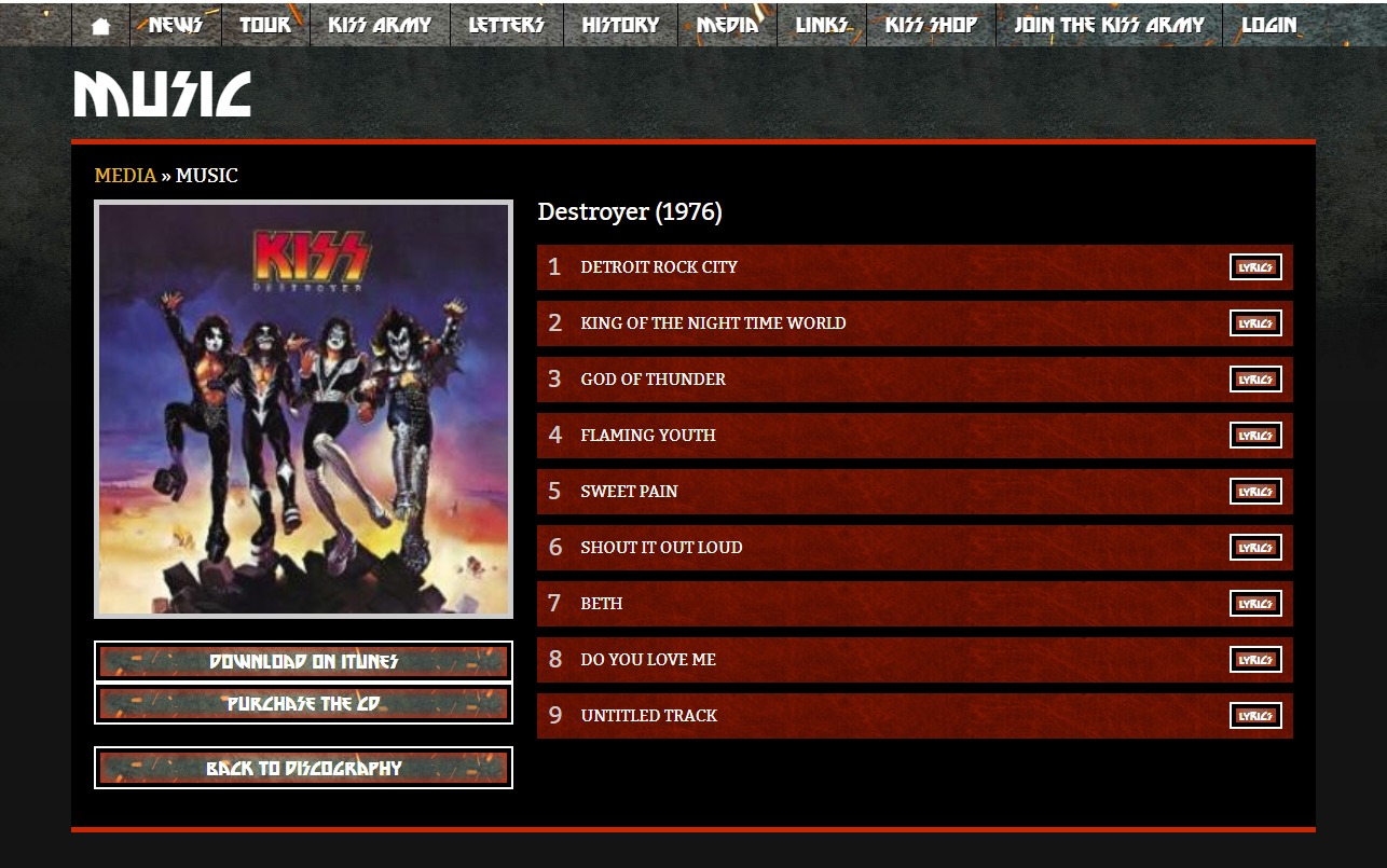 KISS Online :: The Final Tour Ever – Kiss End Of The Road World TourのWEBデザイン