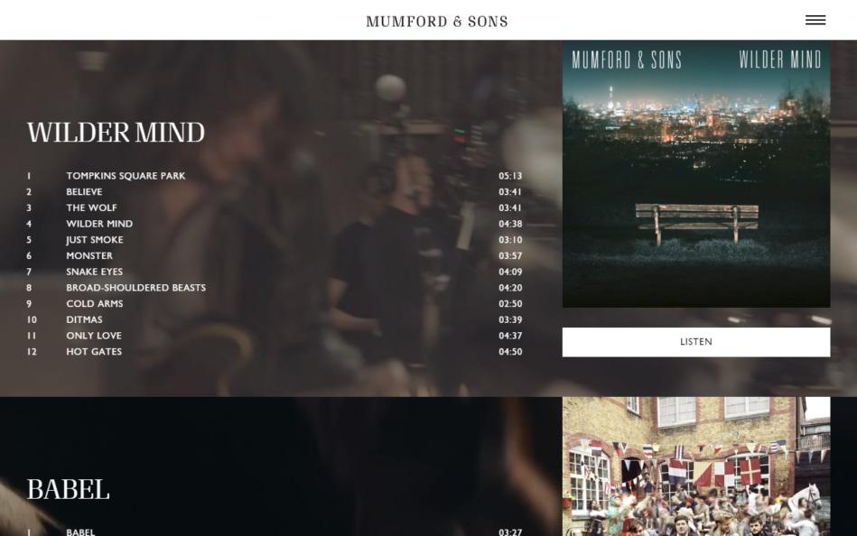 Mumford & SonsのWEBデザイン