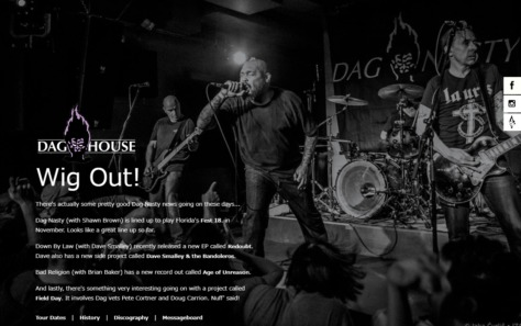 Daghouse – The Official Dag Nasty WebsiteのWEBデザイン
