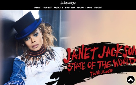 ジャネット・ジャクソン来日公演 JANET JACKSON | STATE OF THE WORLD TOUR 2019のWEBデザイン
