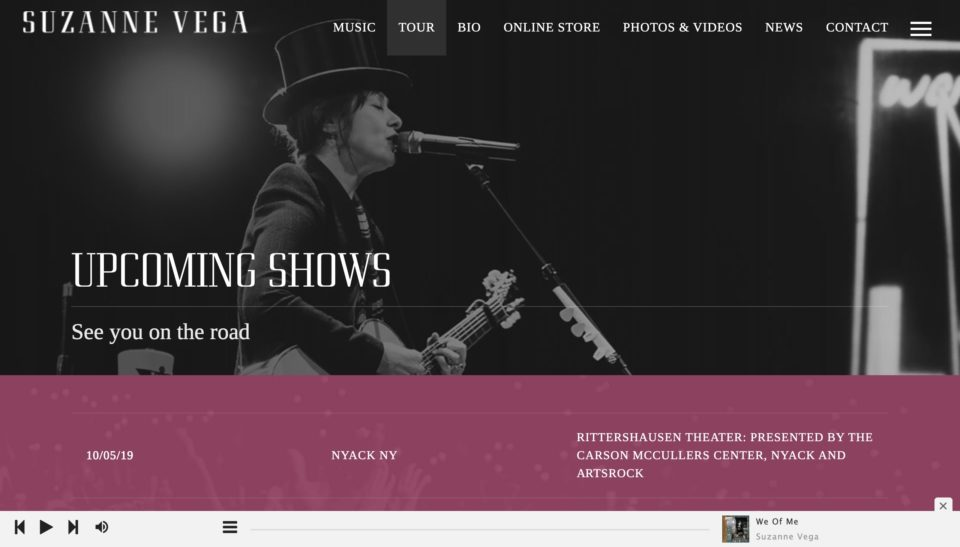 Suzanne Vega – The official site for Suzanne VegaのWEBデザイン