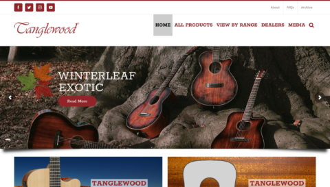 Tanglewood Guitars – Officially Britain's Best Selling Acoustic GuitarsのWEBデザイン