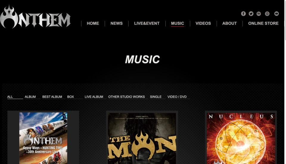 ANTHEM(アンセム)   official siteのWEBデザイン