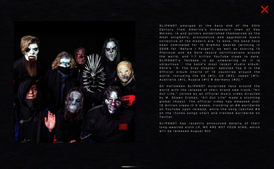 SLIPKNOT – WE ARE NOT YOUR KINDのWEBデザイン