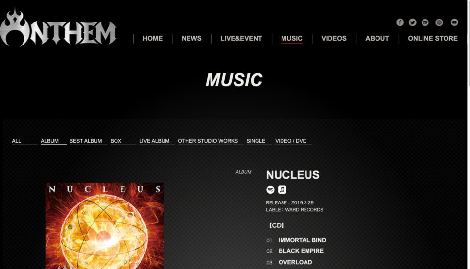 ANTHEM(アンセム) | official siteのWEBデザイン