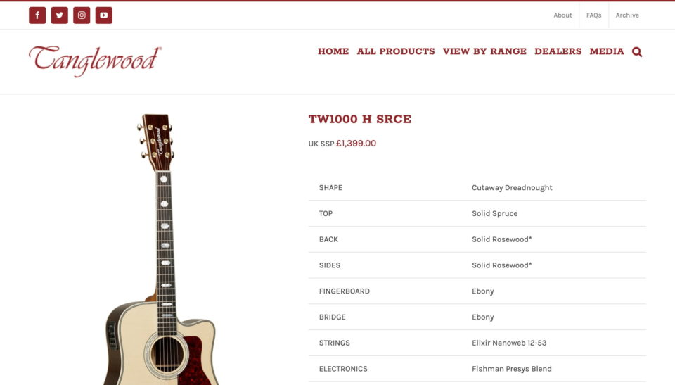 Tanglewood Guitars – Officially Britain's Best Selling Acoustic GuitarsのWEBデザイン