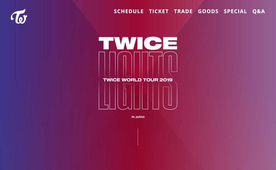 TWICE WORLD TOUR 2019'TWICELIGHTS'IN JAPAN|TWICE OFFICIAL SITEのWEBデザイン