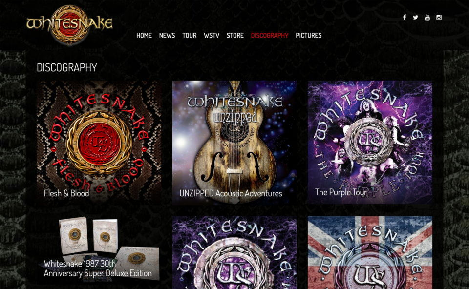 Home – Whitesnake Official SiteのWEBデザイン