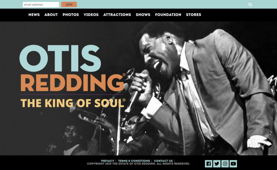 The Official Homepage of Otis Redding, The King of SoulのWEBデザイン