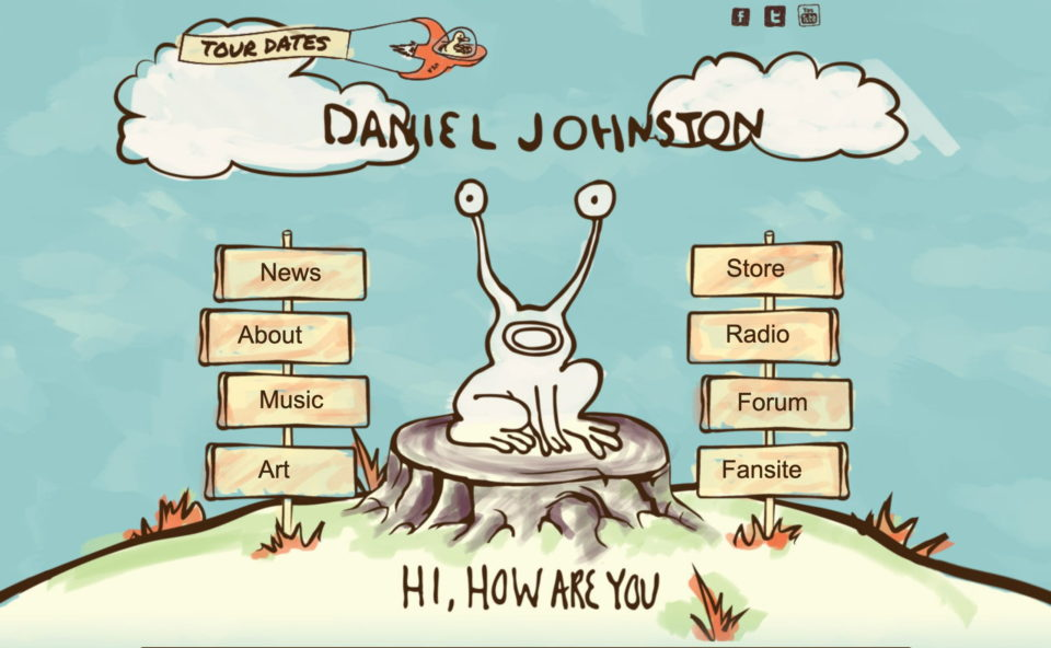 Home – The Official Daniel Johnston Web Site – Hi, How Are You?のWEBデザイン