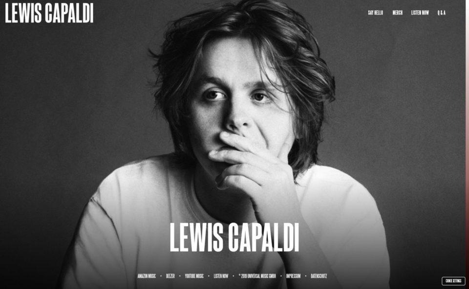 Lewis CapaldiのWEBデザイン