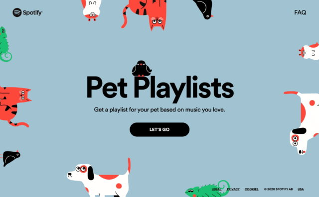 Home | Spotify for PetsのWEBデザイン