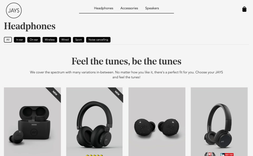 Jays – Premium quality earphones, headphones and appsのWEBデザイン