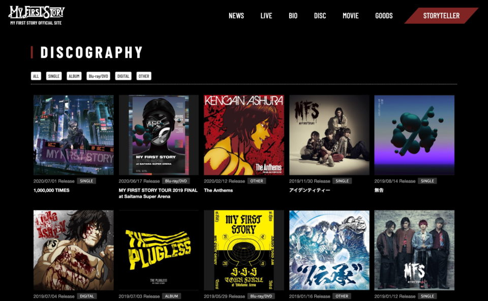 MY FIRST STORY Official Site/MY FIRST STORY official member's club STORYTELLERのWEBデザイン
