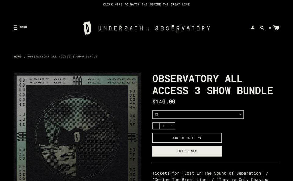 UNDERØATH: ØBSERVATORY – underoathobservatoryのWEBデザイン