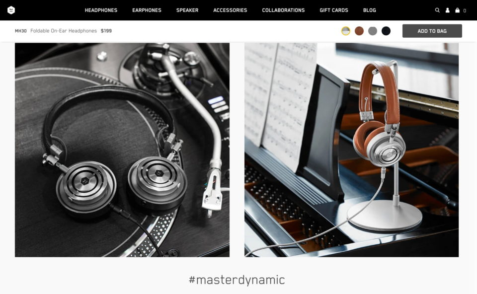 MH30 | Shop Foldable Wired Headphones | Master & DynamicのWEBデザイン