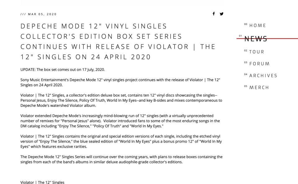 Depeche ModeのWEBデザイン