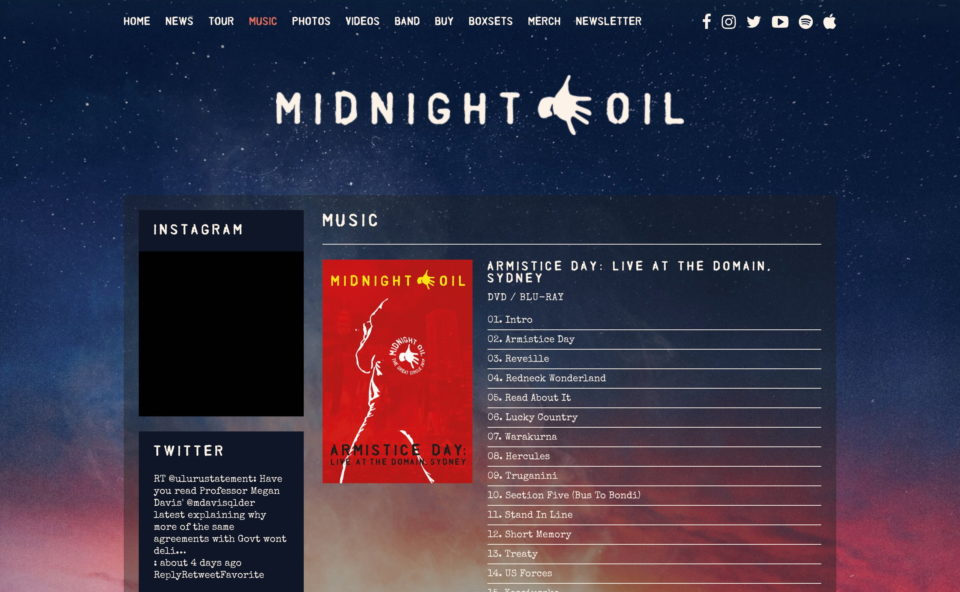 Midnight OilのWEBデザイン