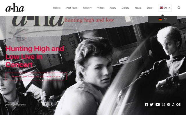 a-ha Official WebsiteのWEBデザイン