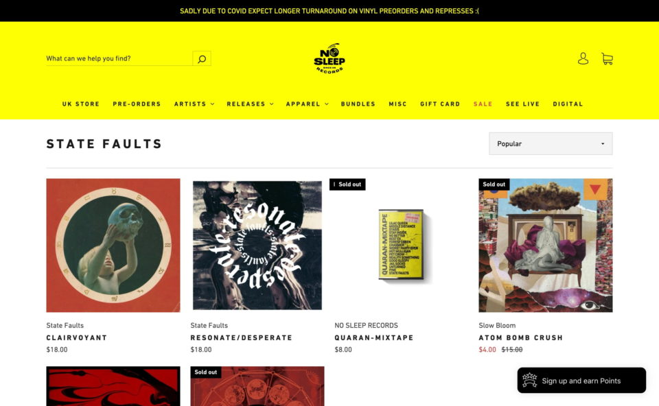california based independent record label – NO SLEEP RECORDSのWEBデザイン