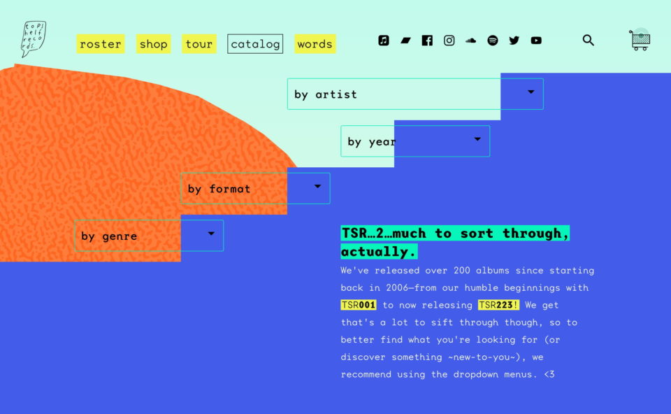 Topshelf Records – Home – ShopのWEBデザイン