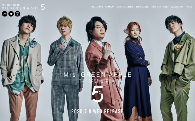 Mrs. GREEN APPLE 『5』 スペシャルサイトのWEBデザイン