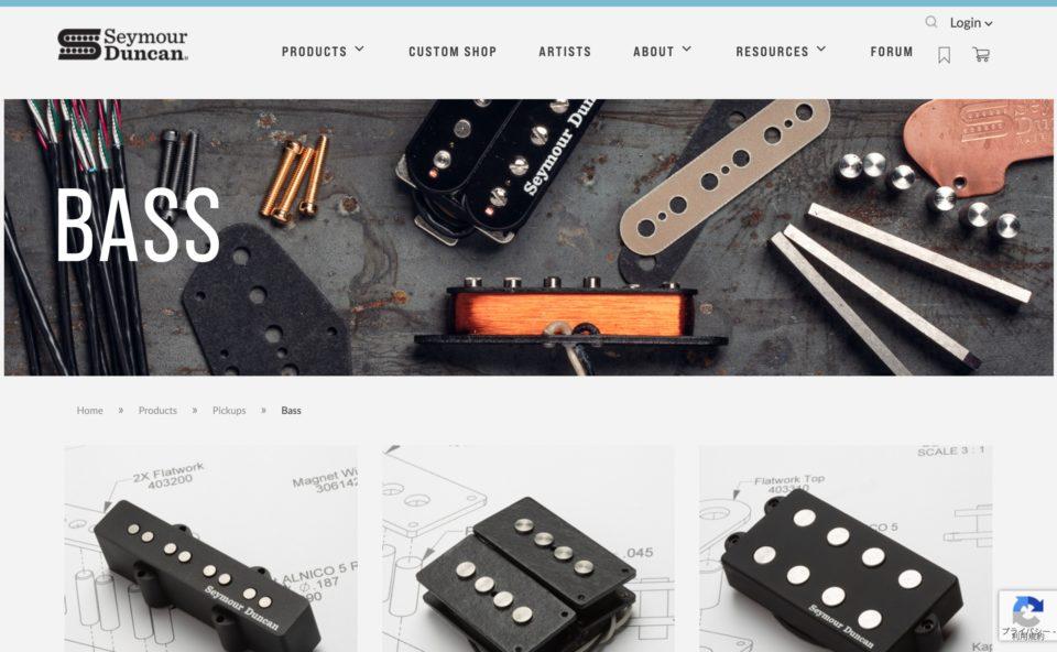 Seymour Duncan Guitar Pickups, Bass Pickups, PedalsのWEBデザイン