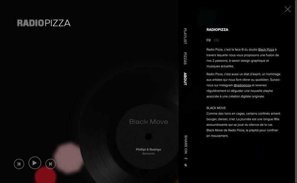 Black Move de Radio Pizza, la playlist pour confiner en mouvement.のWEBデザイン